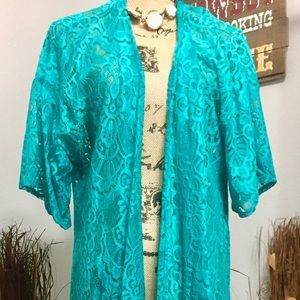 Turquoise Lace Duster.